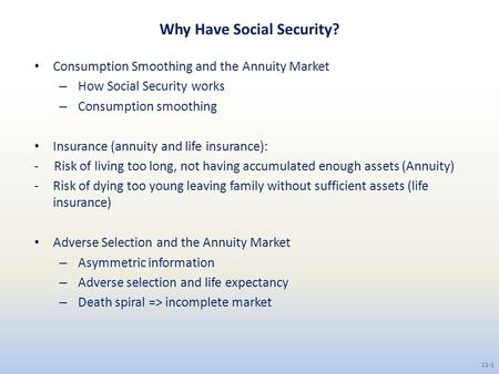 Why Have Social Security?