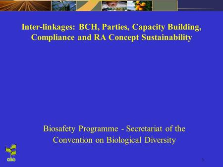 1 Inter-linkages: BCH, Parties, Capacity Building, Compliance and RA Concept Sustainability Biosafety Programme - Secretariat of the Convention on Biological.
