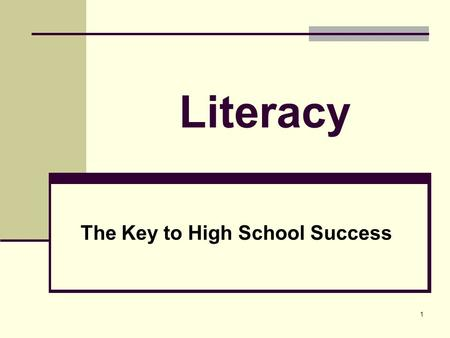 1 Literacy The Key to High School Success. 2 Adolescent Literacy School Improvement Cycle Increased Student Achievement Committed Instructional Leadership.