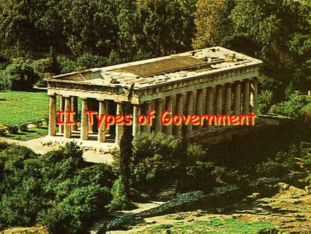II. Types of Government. A. Confederation Confederation – A loose association of states Characterized by a weak central government Only has power granted.