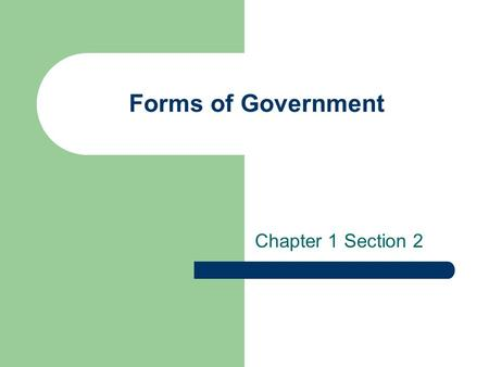 Forms of Government Chapter 1 Section 2. Classic Forms of Government Feudalism Classic Republic Absolute Monarchy Authoritarianism Despotism Liberal Democracy.
