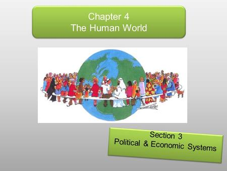 Chapter 4 The Human World Section 3 Political & Economic Systems Section 3 Political & Economic Systems.
