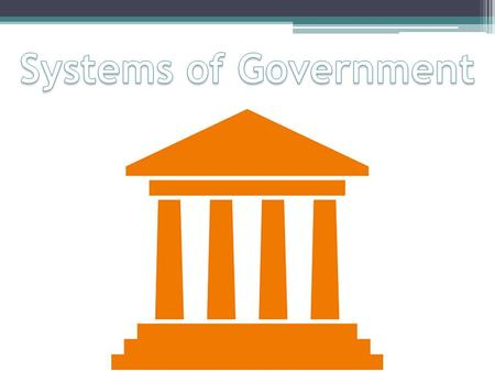 Three Main Systems Unitary System Central government holds all the power Gives directives to lower governments Allocates power as they choose Example: