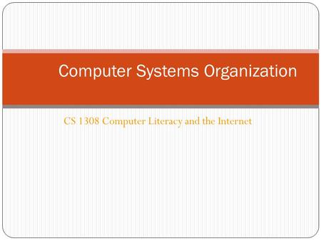 CS 1308 Computer Literacy and the Internet Computer Systems Organization.