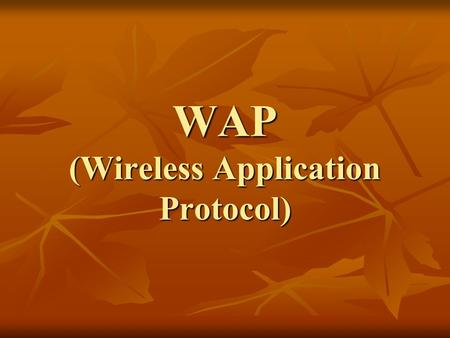 WAP (Wireless Application Protocol). W – World W – Wide W -- Web W – World W – Wide W – Wireless W -- Web The Two Paradigms.