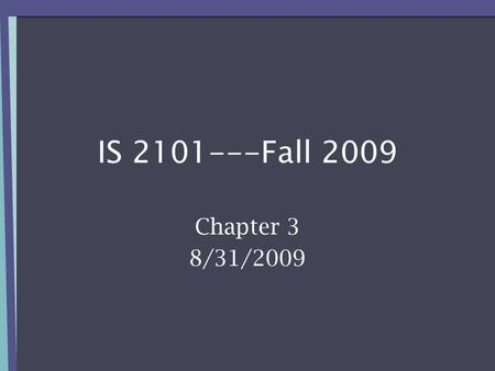 IS 2101---Fall 2009 Chapter 3 8/31/2009. LOOKING AT THE PARTS 8/17/2009IS 2101/01---Fall 20092.