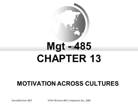 Irwin/McGraw-Hill©The McGraw-Hill Companies, Inc., 2000 Mgt - 485 CHAPTER 13 MOTIVATION ACROSS CULTURES.