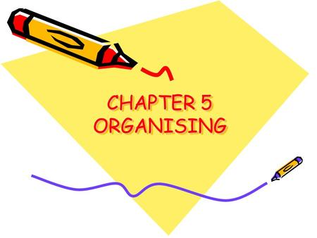 CHAPTER 5 ORGANISING. Meaning and steps Meaning: It is a process of grouping activities and establishing authority relationships among them. Steps: –