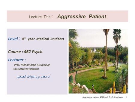 Lecture Title : Aggressive Patient Level : 4 th year Medical Students Course : 462 Psych. Lecturer : Prof. Mohammed Alsughayir Consultant Psychiatrist.