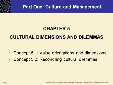 Browaeys and Price, Understanding Cross-cultural Management, 1 st Edition, © Pearson Education Limited 2009 Slide 5.1 Part One: Culture and Management.