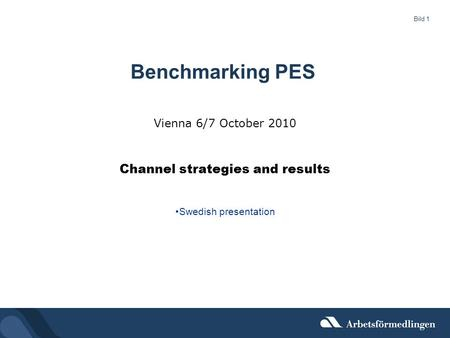 Bild 1 Vienna 6/7 October 2010 Channel strategies and results Swedish presentation Benchmarking PES.