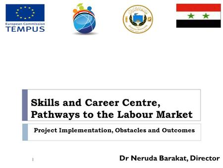 Skills and Career Centre, Pathways to the Labour Market Dr Neruda Barakat, Director 1 Project Implementation, Obstacles and Outcomes.