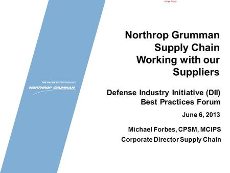 Northrop Grumman Supply Chain Working with our Suppliers
