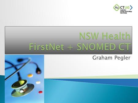 Graham Pegler.  National ED Termset for Presenting Problem and Diagnosis  NEHTA announces SNOMED CT for the Electronic Health Record  FirstNet module.