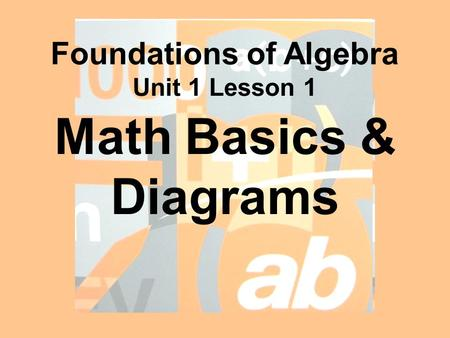 Math Basics & Diagrams Foundations of Algebra Unit 1 Lesson 1.
