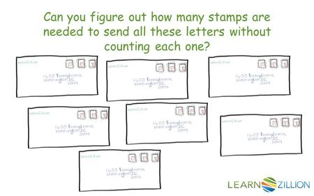 Can you figure out how many stamps are needed to send all these letters without counting each one?