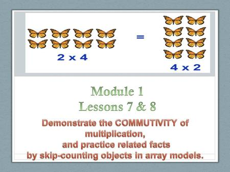 Module 1 Lessons 7 & 8 Demonstrate the COMMUTIVITY of multiplication,
