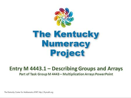 M 4443.1 Entry M 4443.1 – Describing Groups and Arrays Part of Task Group M 4443 – Multiplication Arrays PowerPoint.