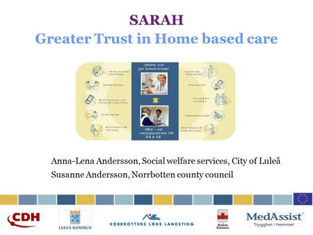 SARAH Greater Trust in Home based care Anna-Lena Andersson, Social welfare services, City of Luleå Susanne Andersson, Norrbotten county council.