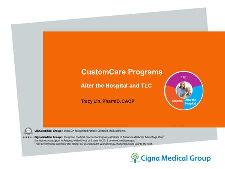 CustomCare Programs After the Hospital and TLC Tracy Lin, PharmD, CACP After the Hospital At Home TLC.