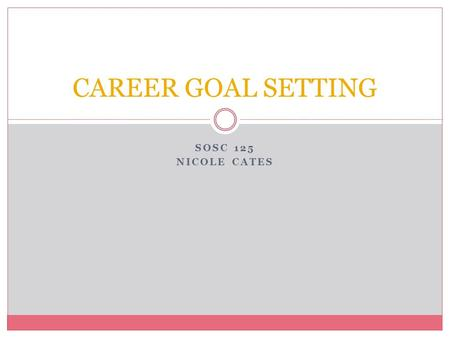 SOSC 125 NICOLE CATES CAREER GOAL SETTING. Setting Goals for Beginners Set a plan and work it. Make sure they are meaningful and motivating. Your goal.