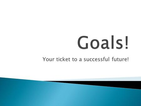 Your ticket to a successful future!.  Students will be able to assess the importance of goal setting and demonstrate writing goals.