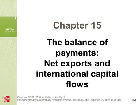 Copyright © 2011 McGraw-Hill Australia Pty Ltd PowerPoint slides to accompany Principles of Macroeconomics 3e by Bernanke, Olekalns and Frank 15-1 Chapter.
