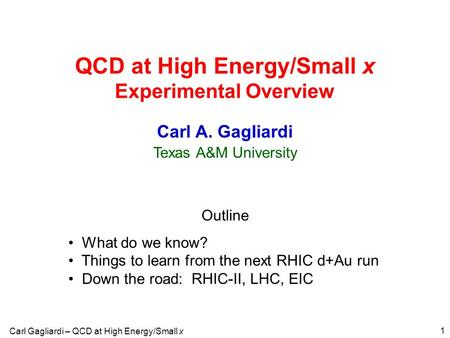 Carl Gagliardi – QCD at High Energy/Small x 1 QCD at High Energy/Small x Experimental Overview Outline What do we know? Things to learn from the next RHIC.