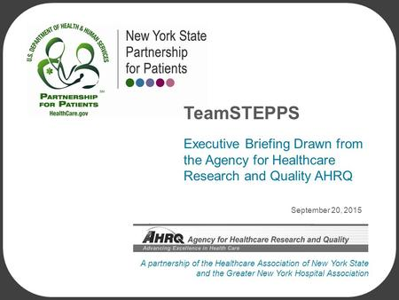 A partnership of the Healthcare Association of New York State and the Greater New York Hospital Association September 20, 2015 Executive Briefing Drawn.