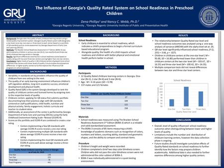 ABSTRACT METHODS RESULTS CONCLUSION Background: Georgia rates the quality of early childcare learning centers using a tiered quality improvement system.