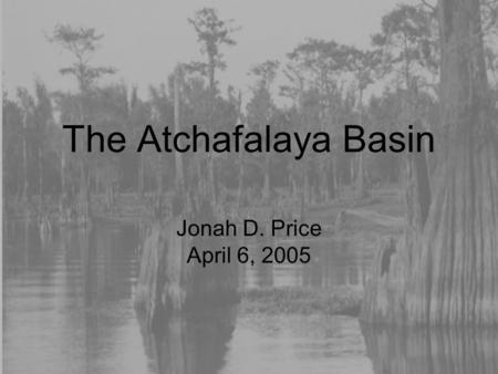 The Atchafalaya Basin Jonah D. Price April 6, 2005.