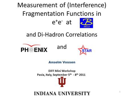 Measurement of (Interference) Fragmentation Functions in e + e - at Anselm Vossen and Di-Hadron Correlations and DiFF Mini Workshop Pavia, Italy, September.