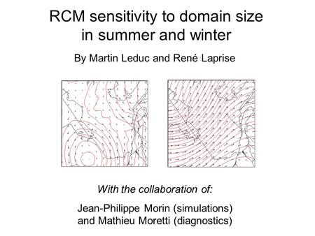 RCM sensitivity to domain size in summer and winter With the collaboration of: Jean-Philippe Morin (simulations) and Mathieu Moretti (diagnostics) By Martin.