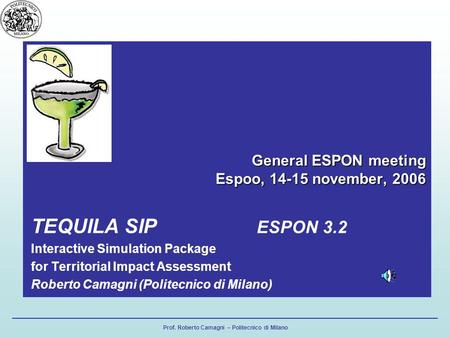 Prof. Roberto Camagni – Politecnico di Milano General ESPON meeting Espoo, 14-15 november, 2006 TEQUILA SIP ESPON 3.2 Interactive Simulation Package for.