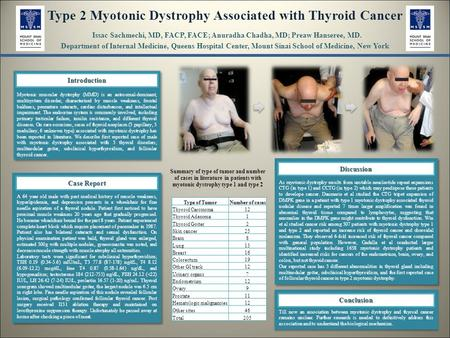 Type 2 Myotonic Dystrophy Associated with Thyroid Cancer Issac Sachmechi, MD, FACP, FACE; Anuradha Chadha, MD; Preaw Hanseree, MD. Department of Internal.