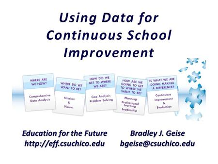 Education for the Future  Bradley J. Geise Using Data for Continuous School Improvement.