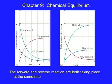Chapter 9: Chemical Equilibrium The forward and reverse reaction are both taking place at the same rate.
