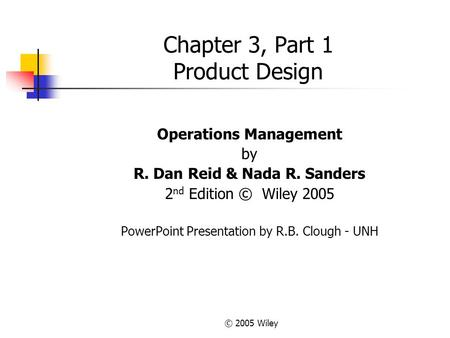 Chapter 3, Part 1 Product Design