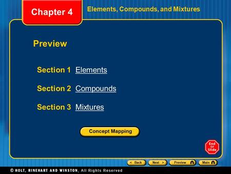 < BackNext >PreviewMain Elements, Compounds, and Mixtures Preview Section 1 ElementsElements Section 2 CompoundsCompounds Section 3 MixturesMixtures Chapter.