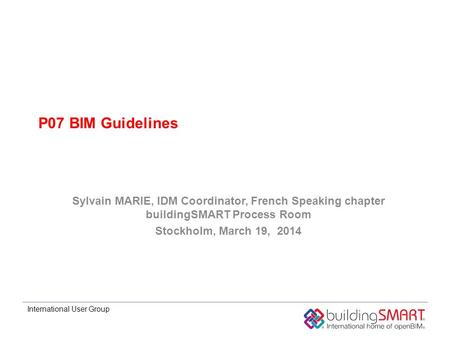 International User Group P07 BIM Guidelines Sylvain MARIE, IDM Coordinator, French Speaking chapter buildingSMART Process Room Stockholm, March 19, 2014.