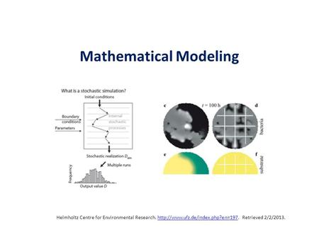 Mathematical Modeling Helmholtz Centre for Environmental Research.  Retrieved 2/2/2013.http://www.ufz.de/index.php?en=197.
