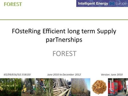 FOsteRing Efficient long term Supply parTnerships FOREST IEE/09/656/SI2.558320 June 2010 to December 2012 Version: June 2010.