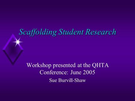 Scaffolding Student Research Workshop presented at the QHTA Conference: June 2005 Sue Burvill-Shaw.