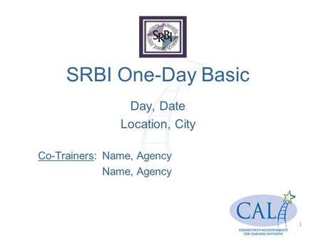 SRBI One-Day Basic Day, Date Location, City Co-Trainers:Name, Agency Name, Agency 1.