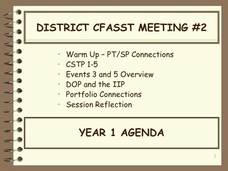 1 DISTRICT CFASST MEETING #2 Warm Up – PT/SP Connections CSTP 1-5 Events 3 and 5 Overview DOP and the IIP Portfolio Connections Session Reflection YEAR.