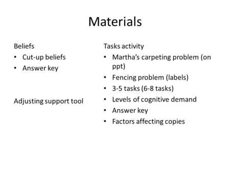 Materials Beliefs Cut-up beliefs Answer key Adjusting support tool Tasks activity Martha's carpeting problem (on ppt) Fencing problem (labels) 3-5 tasks.