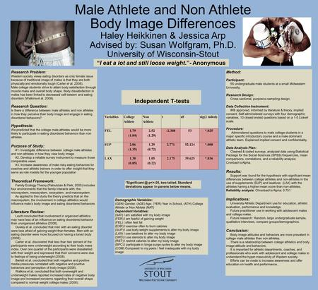 Male Athlete and Non Athlete Body Image Differences Haley Heikkinen & Jessica Arp Advised by: Susan Wolfgram, Ph.D. University of Wisconsin-Stout Research.