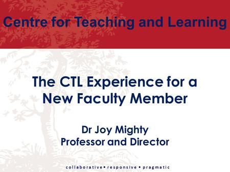 Centre for Teaching and Learning c o l l a b o r a t i v e r e s p o n s i v e p r a g m a t i c The CTL Experience for a New Faculty Member Dr Joy Mighty.
