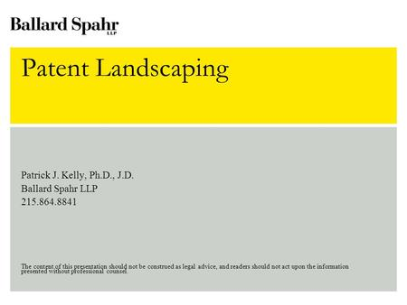 Patent Landscaping Patrick J. Kelly, Ph.D., J.D. Ballard Spahr LLP 215.864.8841 The content of this presentation should not be.