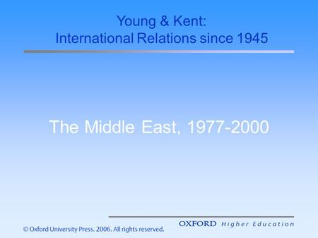 The Middle East, 1977-2000 Young & Kent: International Relations since 1945.